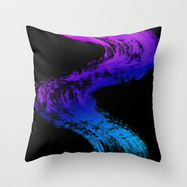 Fuchsia to Sky Blue Brush Drip Abstract Painting on Black Throw Pillow
