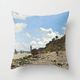 Monet - The Beach at Honfleur, 1864 Throw Pillow