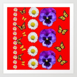 PURPLE PANSIES, WHITE DAISIES, MONARCH BUTTERFLIES RED ART Art Print