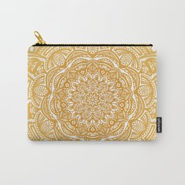 Golden Mustard Yellow Orange Ethnic Mandala Detailed Carry-All Pouch