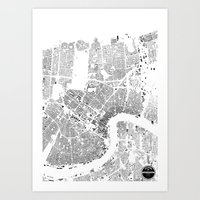 new orleans Art Prints featuring NEW ORLEANS by Maps Factory