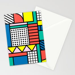 Memphis Color Block Stationery Cards