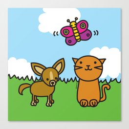 Butterfly, Cat and Dog Canvas Print