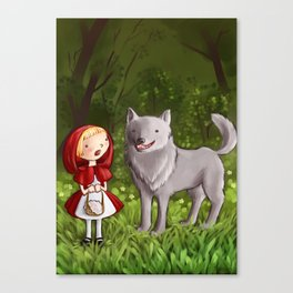 Red riding hood meets the wolf Canvas Print