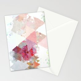 Pink white rosegold triangle pattern Stationery Cards