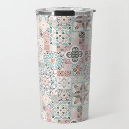 Moroccan Tile Pattern with Rose Gold Travel Mug
