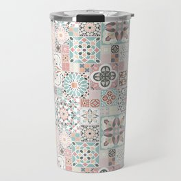 Moroccan Tile Pattern with Rose Gold Travel Mug