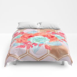 Blush pink hexagons succulent bouquet Comforters