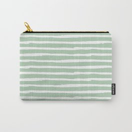 Elegant Stripes Pastel Cactus Green and White Carry-All Pouch