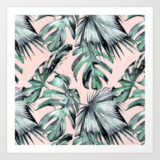 Island Love Coral Pink + Green Art Print