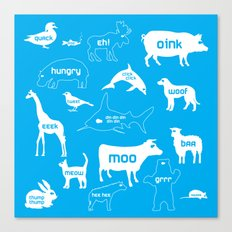 Animal Noises in Blue Canvas Print
