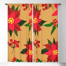 Winter Floral, Christmas Stars Blackout Curtain