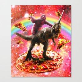 Space Sloth Riding Dinosaur Unicorn - Pizza & Taco Canvas Print