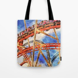 Fun on the roller coaster, close up Tote Bag