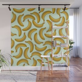 Fruit pattern. Background from bananas with realistic shadows Wall Mural