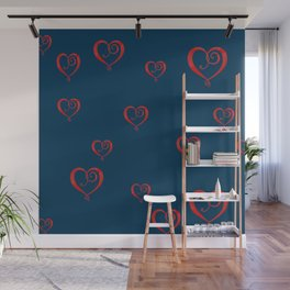 Polka Heart Party, Blue Wall Mural