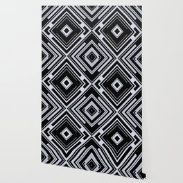 Black and White Tribal Pattern Diamond Shapes Geometric Geometry Contrast I Wallpaper