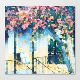 Old Porch of Pink and Teal by CheyAnne Sexton Canvas Print