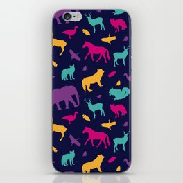 Colorful Wild Animal Silhouette Pattern iPhone Skin