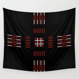 Black White Red Cross Wall Tapestry