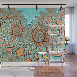 Owl Fractal Turquoise and Orange Wall Mural