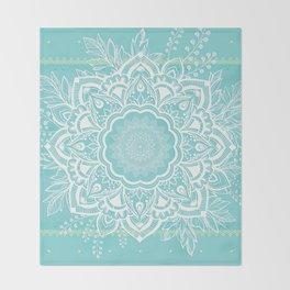 mandala bohemian embellishments floral medallion turquoise Throw Blanket