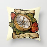 compass Throw Pillows featuring Compass by hvelge