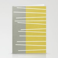 mid century modern Stationery Cards featuring MId century modern textured stripes by Michelle Drew
