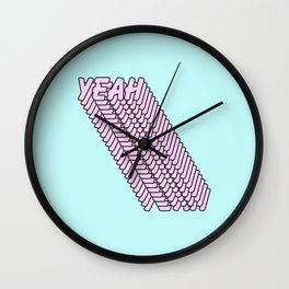 YEAH Typography Pink Blue Wall Clock