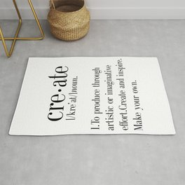 Create Definition, create quote print, artist gift, crafter gift, craftsman gift, office wall art, h Rug
