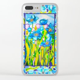 Blue Poppies 2 with Border Clear iPhone Case