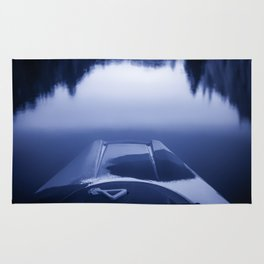 Smooth Sailing kayaking monochrome reflections Rug