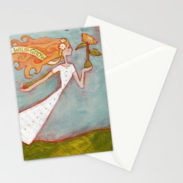 Flying Girl Lets Go, or Trust That The Seeds You Plant Will Grow Stationery Cards