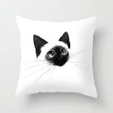 Curious Siamese Kitten Throw Pillow
