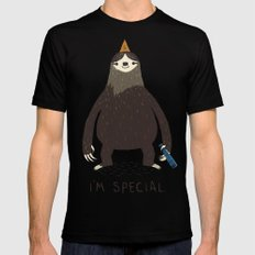 sloth(light) MEDIUM Black Mens Fitted Tee