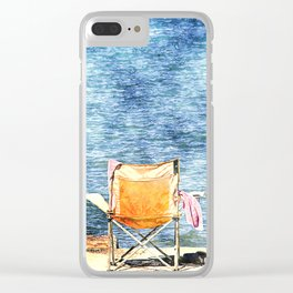 Summer holiday relaxing in the sun, digital art watercolor Clear iPhone Case