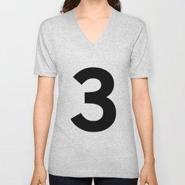 Number 3 (Black & White) Unisex V-Neck