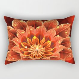 Red Dahlia Fractal Flower with Beautiful Bokeh (Vivid Crimson) Rectangular Pillow