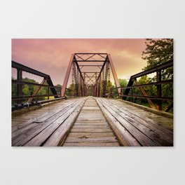 Sunset over an Old Wooden Bridge Canvas Print
