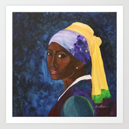Girl with Gold Earring Art Print