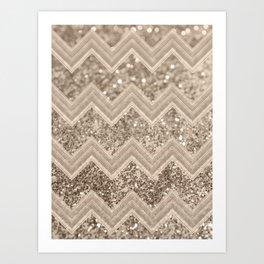 Sepia Glitter Chevron #1 #shiny #decor #art #society6 Art Print