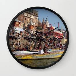 Sunday Bathing at Ahilyabai Ghat Wall Clock