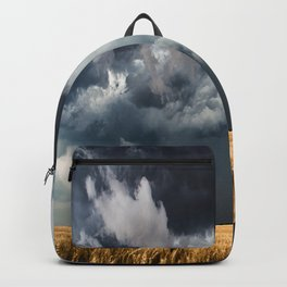 Cotton Candy - Storm Clouds Over Wheat Field in Kansas Backpack
