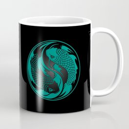 Teal Blue and Black Yin Yang Koi Fish Coffee Mug