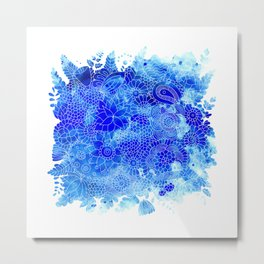 Blue Floral Pattern 02 Metal Print