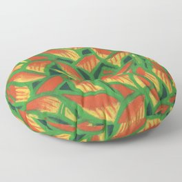Lobster Claw / Heliconia Rostrata, tropic flowers, green, yellow & orange Floor Pillow