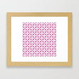 Valentines - Pink Heart Pattern Framed Art Print