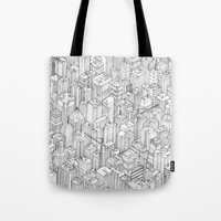 city Tote Bags featuring Isometric Urbanism pt.1 by Herds of Birds
