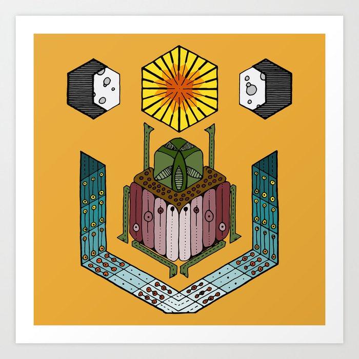 hexagonal scarab, sun, and moon Kunstdrucke