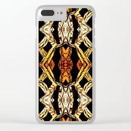 Elegant Oriental Pattern Black Gold Clear iPhone Case